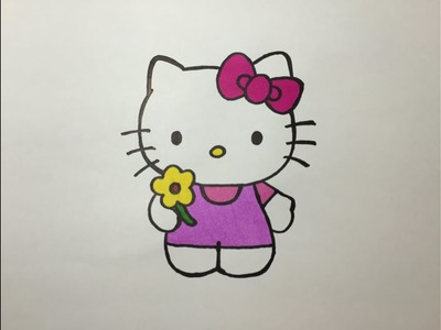 Drawing and Coloring Hello Kitty - Dibujando y coloreando a Hello Kitty