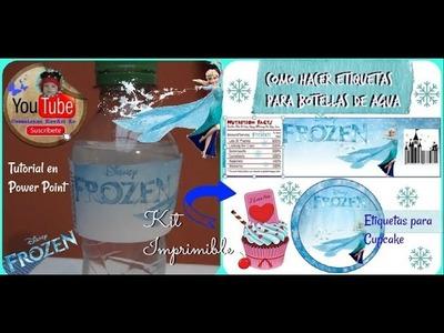 Etiquetas para botellas y Cupcake de Frozen en Power Point. MUY FÁCIL DIY.PERSONALIZADAS PARA FIESTA