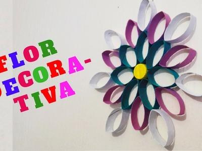Flor decorativa reciclada. manualidades con tubos de papel higiénico|Manualidades Reciclaje|DIY