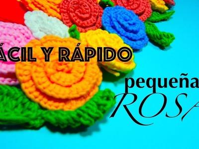 FLOR ROSA PEQUEÑA SIMPLE TEJIDO GANCHILLO CROCHET DIY ROSE
