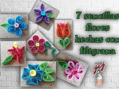 FLORES DE FILIGRANA FACILES| COMO HACER FLORES FACILES CON FILIGRANA | TUTORIAL - JCJ MANOS CON ARTE
