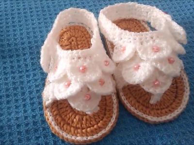 Ganchillo - Huaraches tejidos para bebe #punto cocodrilo