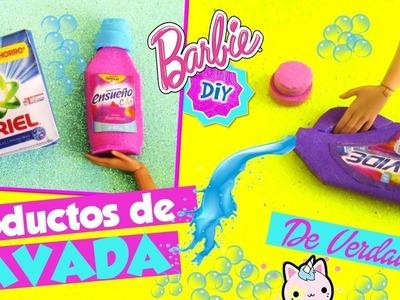 Haz PRODUCTOS de LAVADO y LIMPIEZA para MUÑECAS Barbie muy FÁCIL! MANUALIDADES PARA MUÑECAS