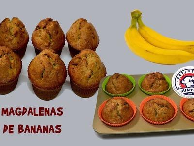 Magdalenas de bananas con nueces - Quequitos de platanos.