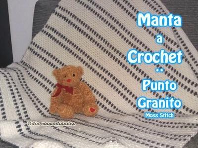 Manta a Crochet PUNTO GRANITO - crochet moss stitch tutorial.muy facil.