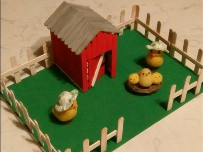 Manualidades:Casita  hecha con palitos de helado paso a paso.Para niños.Ideas para Pasquas.DIY