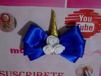 Moño unicornio azul. chepina manualidades