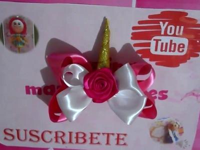 Moño unicornio rosa- blanco. chepina manualidades