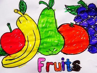 Niña de 5 años Coloreando Frutas como Manzana, Plátano, Pera, Naranja y Uvas - DIBUJOS  PARA NIÑOS