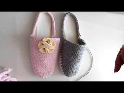 Pantunflas a ganchillo o crochet. Como hacer Patucos o pantunfla para adulto. Sandalia tejida
