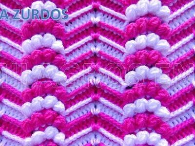 PARA ZURDOS: Punto a Crochet Zig Zag en Relieves combinado con Abanicos de Garbanzos para Mantitas