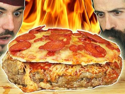 PizzaBurger de 7000 KCAL!!! SI NO ME LO COMO ME AFEITO!  El Pirata VS Joe BurgerChallenge
