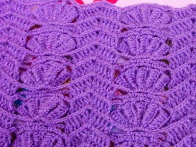 Punto a crochet PÉTALOS combinado con puntos ZIG ZAG paso a paso para colchitas de bebe