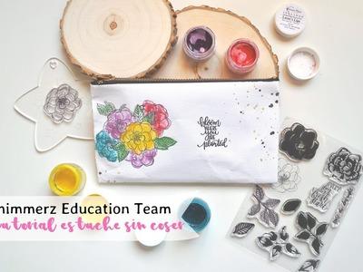 Tutorial estuche mixed media DIY sin coser para Shimmerz Paints | Scrapeando con Rocío