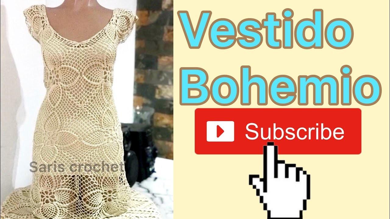 Unión de motivos en el escote del vestido bohemio parte 6