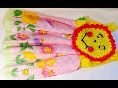 Vestido en crochet y tela para bebe  De 1-2años