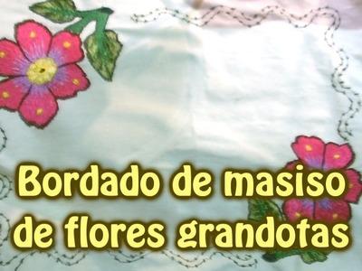 Bordado de masiso de flores grandotas |Creaciones y manualidades angeles