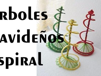 Cómo hacer árbolitos Navideños espiral sencillos Tutorial Inerya viris