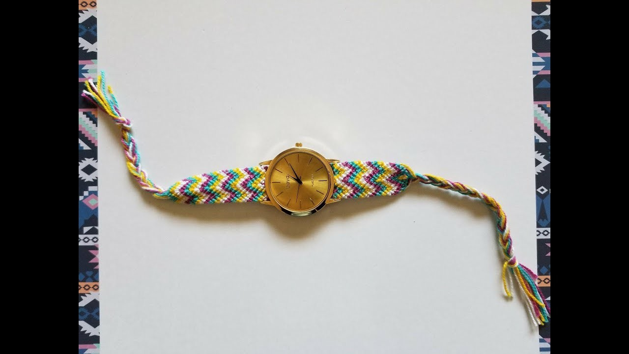 Como hacer el tejido para tu reloj. How to make friendship bracelet to watch