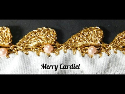 Como Tejer puntilla o Borde abanicos con perlas en hilo Dorado