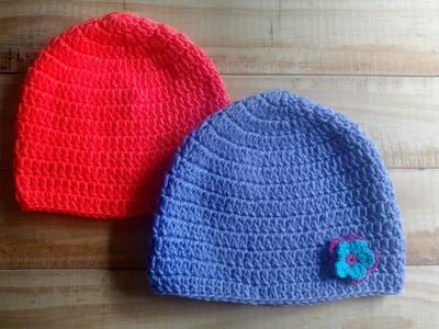 Como tejer un gorro basico simple a crochet - Tutorial paso a paso
