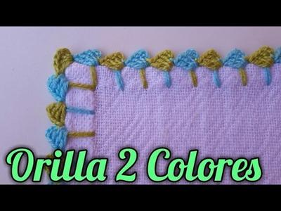 Crochet Orilla una sola vuelta Dos Colores-Orilla en Crochet #32