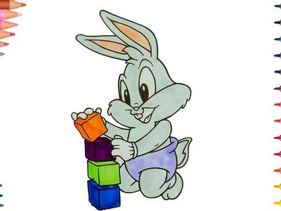 Dibujar y Colorea Bebé Bugs Bunny - Dibujos Para Niños - Learn Colors