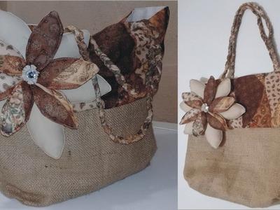 DIY Bolsa de yute combinada
