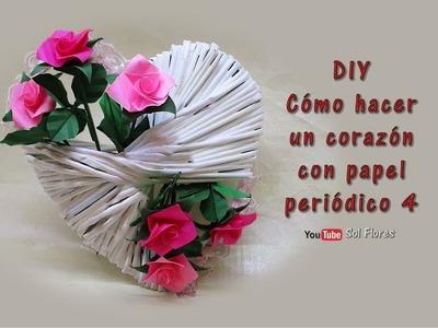 DIY Cómo hacer un corazón con papel periódico 4