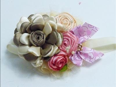 DIY Fabric flower, Flores de liston, Como hacer Tiaras Bautizo, Manualidades la Hormiga