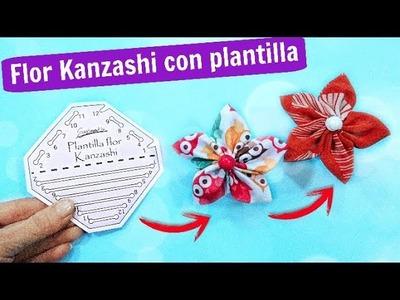 ► DIY FLORES KANZASHI con plantilla . MANUALIDADES FÁCILES