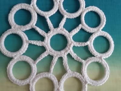 Flor a crochet - tejido con ganchillo y circulos aros