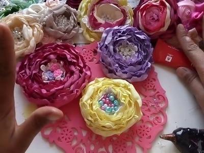 Flor capullo de tela tergal. nivel Principiante. flores de tela fáciles.tiaras.manualidades.Balacas