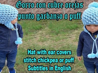 Gorro tejido - dos agujas - knitting - how to knit a hat easy and fast - punto garbanzo o puff
