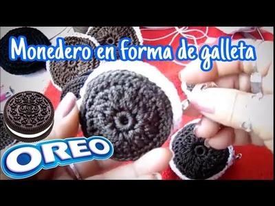 Monedero a crochet en forma de galleta de chocolate  Oreo