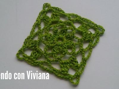 Motivo Cuadrado de Flor tejido a crochet