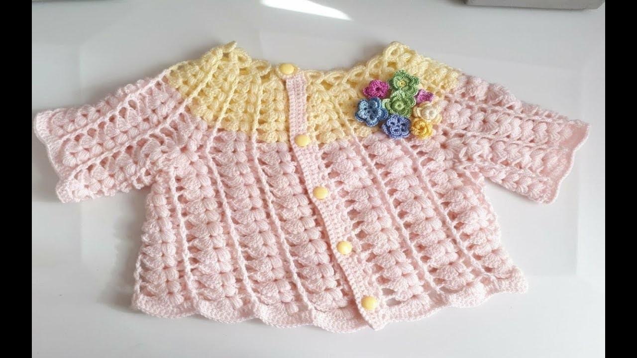 Sueter a crochet - Saco a crochet - ganchillo - chaqueta - tejida con abanicos y punto puff - #2