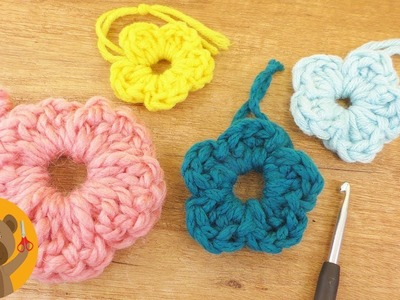 Tejer flores para primavera|Tutorial fácil para principiantes|Ideas de tejido con restos de lana
