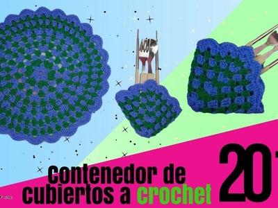 Tejiendo Contenedor de cubiertos circular a Crochet - tejidos de cocina   vivirtejiendo
