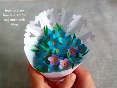 Un Ramo de Nomeolvides. Flores de papel. Manualidades para Pascua,  para el Día de la Madre