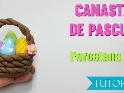 Canasta de Pascua. Huevos de pascua. easter egg cold porcelain