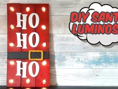 Cartel Luminoso de Santa Claus. Decoración Para Navidad