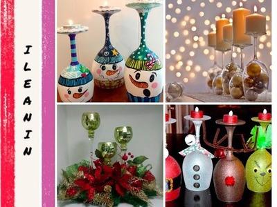Centros de mesa con copas  +20 Ideas. Decoración para Navidad
