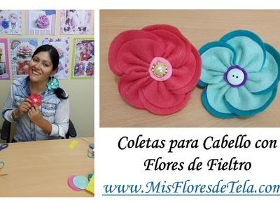 Coletas para el cabello de Flores de Fieltro de Mis Flores de Tela DIY
