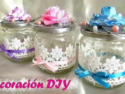 Cómo decorar mi casa con poco dinero, flores de papel #2 y botes de cristal reciclados