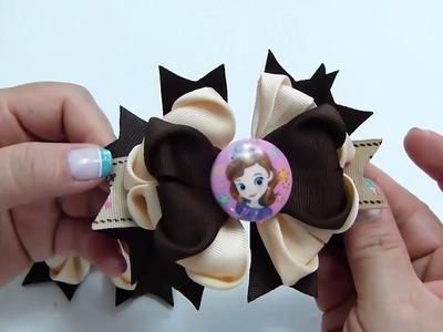 Como hacer Moños dobles y flores de listón , Ribbon Hair Bow