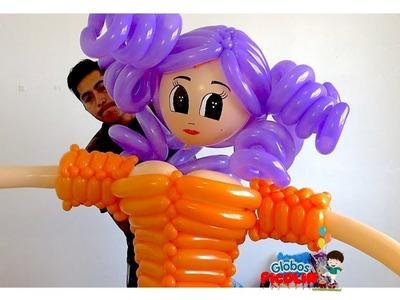 Como hacer  una bruja con globos parte #2