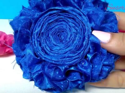Flor shabby en tela de raso. DIY accesorios para el cabello. moños. diademas. cintillos