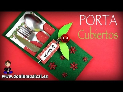 Ideas para decorar tu mesa en Navidad. Portacubiertos de fieltro
