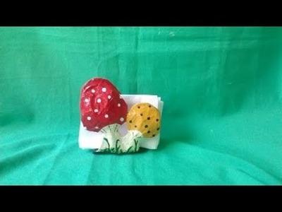 Servilletero hecho de carton    hongos  napkin holder made of cardboard mushrooms